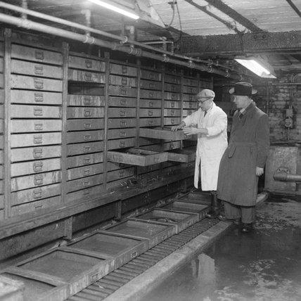 Interior of store at Billingsgate Market: 1958