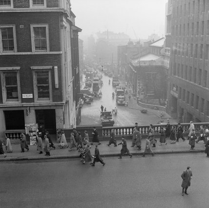 View above King William Street and Lower Thames Street: 1958