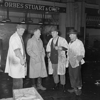 Porters and salesman at Billingsgate Market: 1958