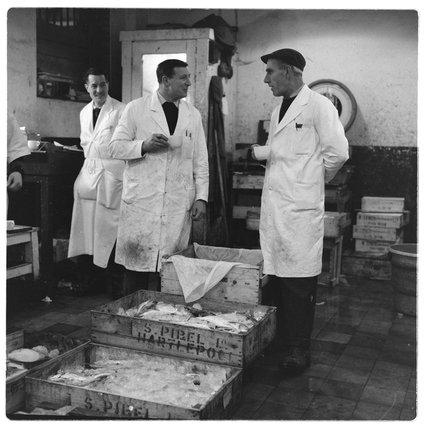 Salesmen inside Billingsgate Market: 1958