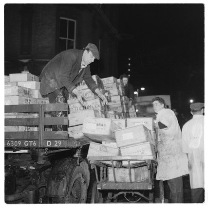 Unloading fish at Billingsgate Market: 1958