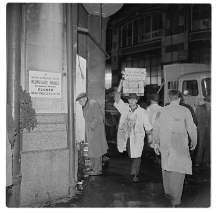 Porter outside Billingsgate Market: 1958
