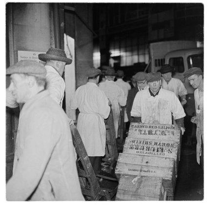 Porters at Billingsgate Market: 1958