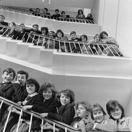 Pupils on the staircase at the Crown Wood School in Eltham, January 1963.