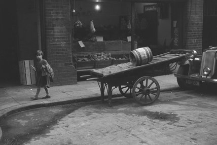 Child in London's East End; 1954