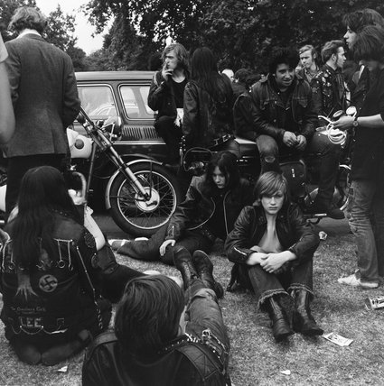 Group of bikers at a festival in Hyde Park; 1970