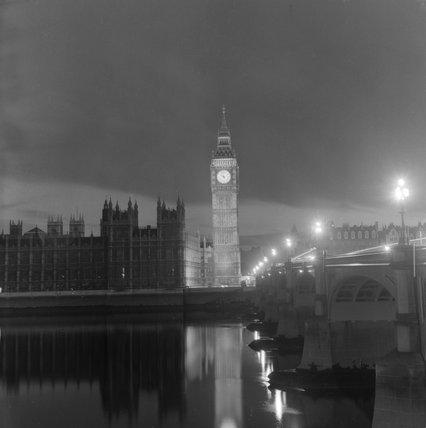 Big Ben at night; c 1965