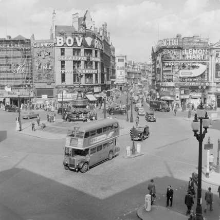 Double Decker bus in Piccadilly Circus; 1957
