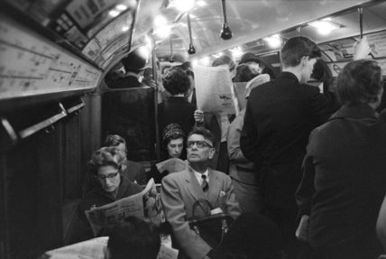The rush hour on the tube; c1960