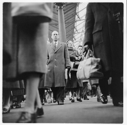 Train station at rush hour; c.1960