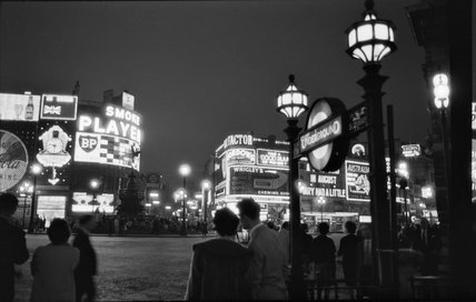 Piccadilly Circus at night; 1960