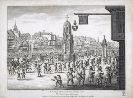 North east view of Cheapside with the Cross and Conduit; 1638