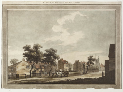 View of the entrance of Bow from London: 1783