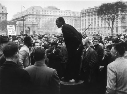 A man addressing a crowd at Speaker's Corner: 1961