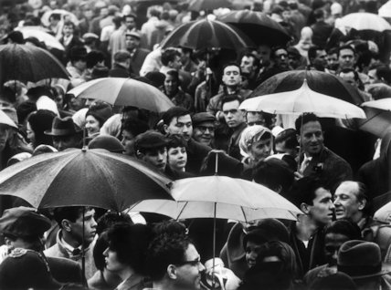 A crowd huddled underneath umbrellas in the rain: 1961