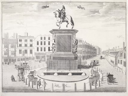 The brass statue of King Charles I at Charing Cross
