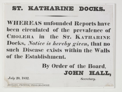 Printed cholera notice; 1832