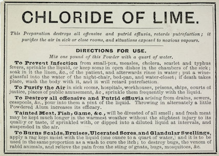 Label from a packet of 'Chloride of Lime'; 1876-1900