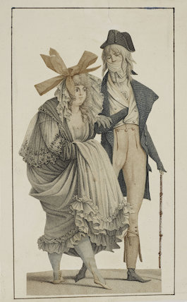 Coloured print of a woman and a man standing, 1796.