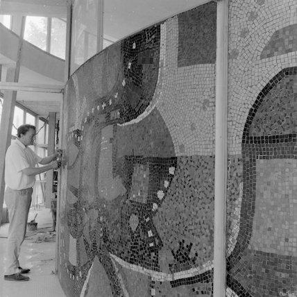 Creating the mosaic at Victoria tube station; 1961