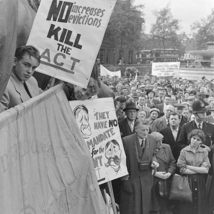 Repeal the Rent Act demonstration; 1957