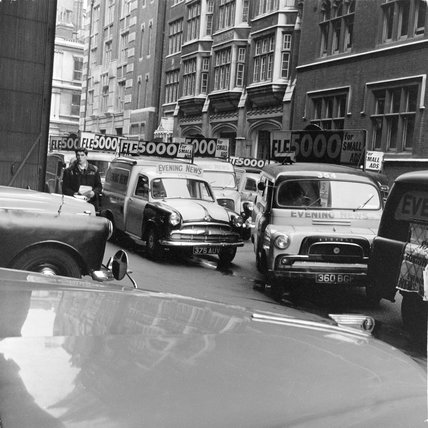 Newspaper delivery vans on Fleet Street; 1962