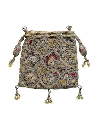 Flat square purse of linen canvas; 1600 - 1650