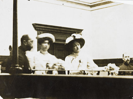 Mary Leigh and Edith New in the dock at Bow Street; 1908