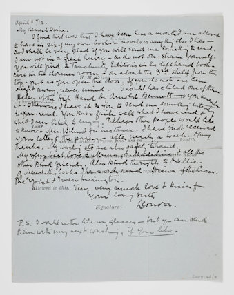 letter handwritten by Leonora Tyson; 1912