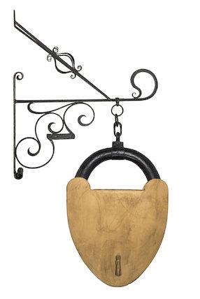 Locksmith's sign & iron bracket; 1850