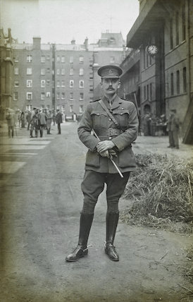 A lieutenant from the 1st Life Guards poses for the camera; 1914
