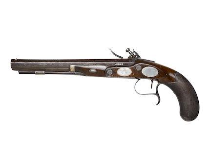 Flintlock duelling pistol; c1785