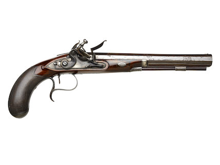 Reverse side of a flintlock duelling pistol; c1785