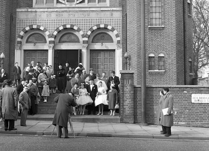 Wedding party outside Lea Bridge Road Synagogue. c.1955
