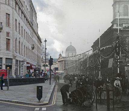 Composite photograph showing a contemporary and historical view ofDuncannon Street
