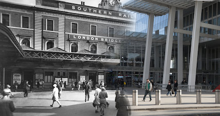 Composite photograph showing a contempory and historical view of London Bridge railway station c.1930