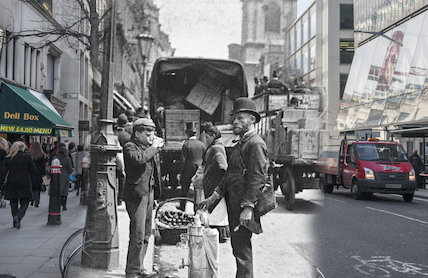 Composite photograph showing a contemporary and historical view of  Cheapside