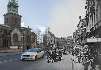 Composite photograph showing a contemporary and historical view of  Byward Stree