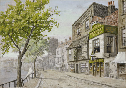 Cheyne Walk and Chelsea Old Church; c.1857