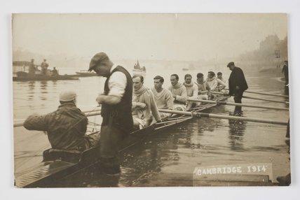 Cambridge University oarsmen at the Boat Race; 1914