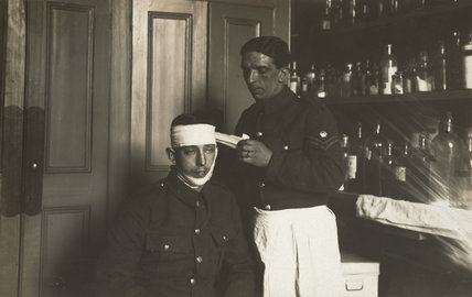 Bandaging a Life Guard, Knightsbridge Barracks, 1914-18