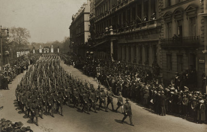 Australian troops marching in the Peace Procession, 1919