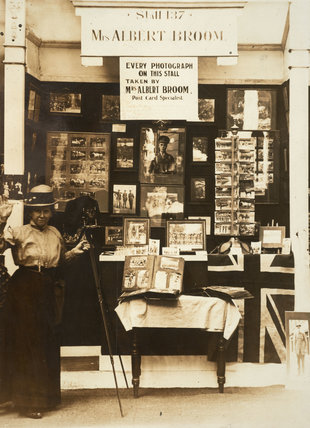Mrs Broom displays her camera and samples of her work; 1916