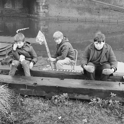 Three boys at the Regents Canal; 1967