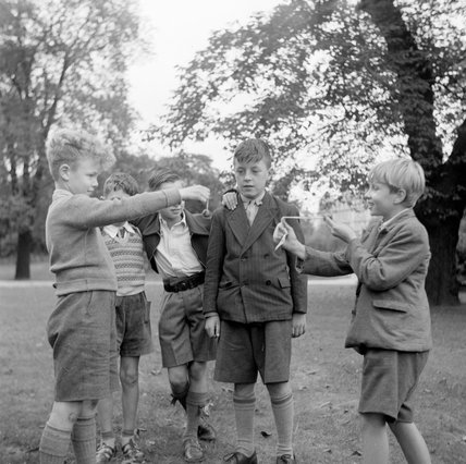 Playing Conkers in Regents Park; 1955