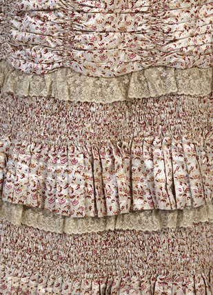 Detail of a teagown with a 'Watteau' back. c. 1880-1885