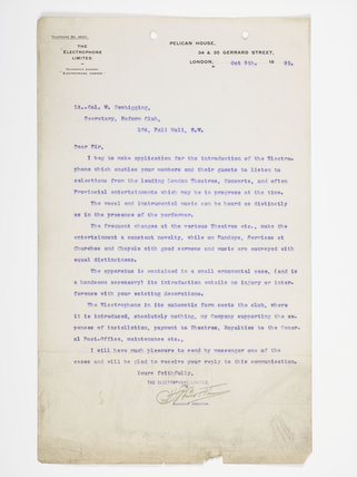 Letter was written to the Secretary of the Reform Club