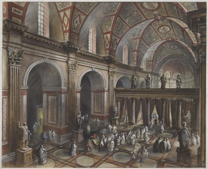 Reconstruction of the interior of the Roman basilica: c. 90 AD