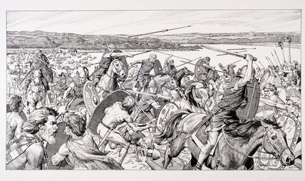 Reconstruction drawing of Caesar's army at the River Thames
