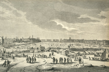 An engraving of the north west view of the Frost Fair on the Riv
